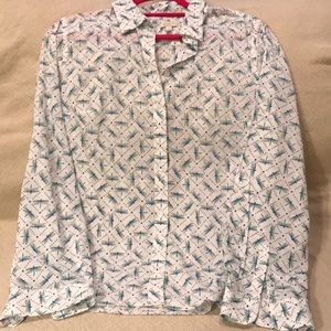 Talbots button down top with dragonfly M